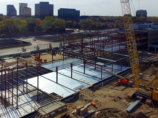 steel erection for a commercial office building